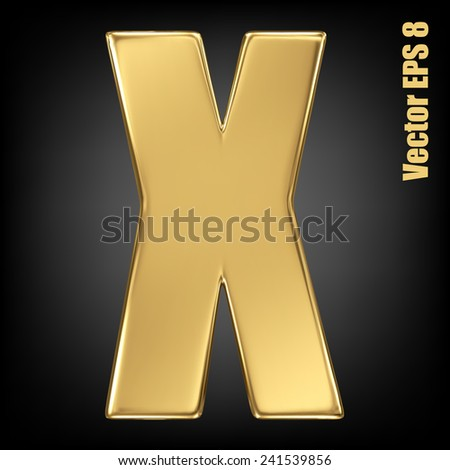 Vector letter X from gold solid alphabet. Uppercase golden font collection. EPS 8 - stock vector