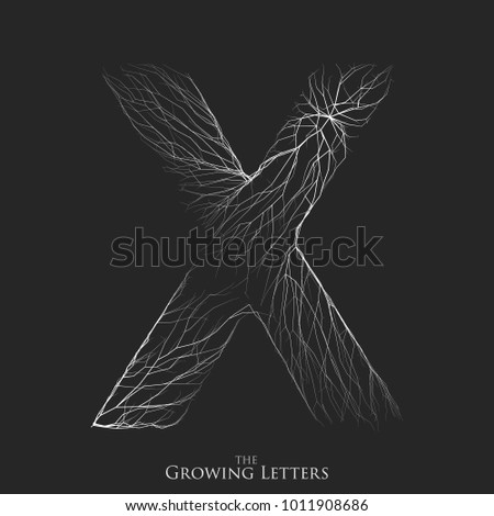 Vector letter X of branch or cracked alphabet. X symbol consisting of growing white lines. Fractured letters. Lighting silhouet of capital letters. Abstract font