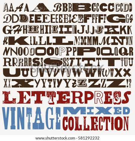 Vector letterpress vintage mixed type collection