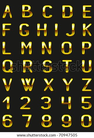 Vector letters and figures with effect of gold