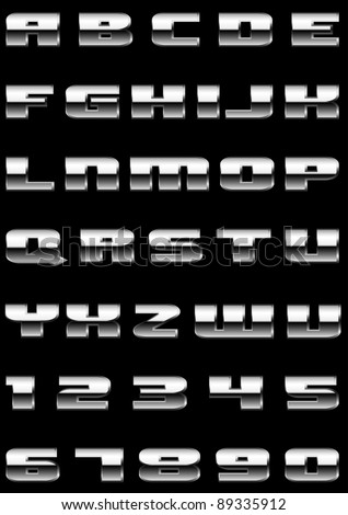 Vector letters and figures with effect of metal - stock vector