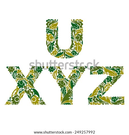 Vector letters decorated with seasonal leaves, U, X, Y, Z. Vintage ornamental typescript. - stock vector