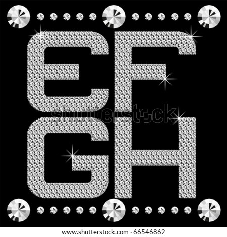 vector letters with diamonds isolated on black background