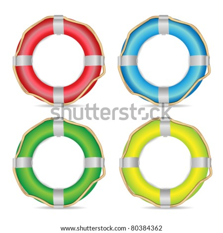 Vector Lifebuoy Illustration Isolated on White - stock vector