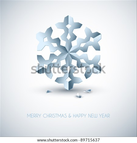 Vector light blue paper christmas snowflake on a purple background - stock vector