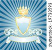 vector light blue shield with crown - stock photo