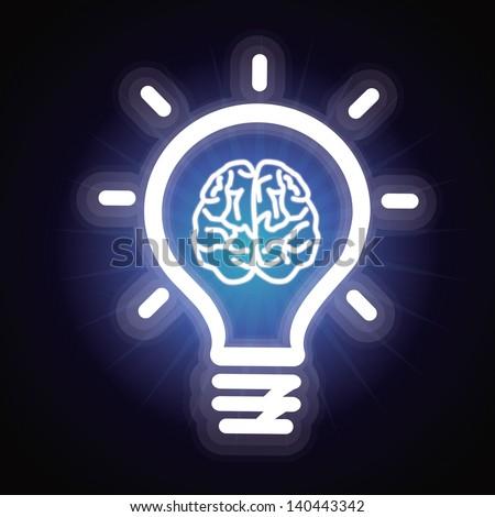 Vector light bulb and brain icon - creativity concept - stock vector