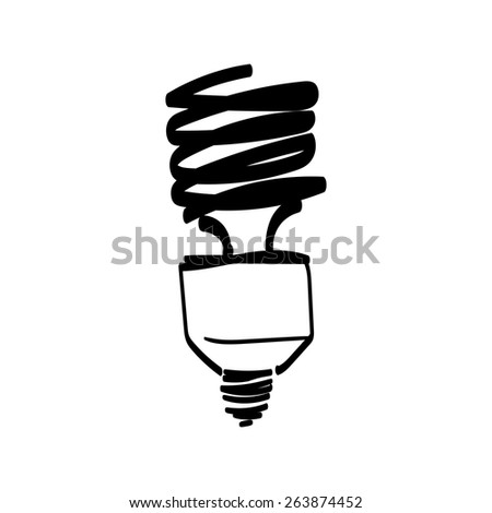 Vector light bulb hand drawn - stock vector