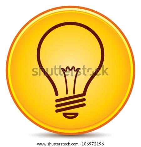 Vector Light Bulb Icon Matte Button. EPS10. - stock vector