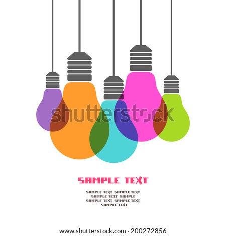 Vector light bulb icons with concept of idea. Color original sign of co-creativity. Illustration for print, web - stock vector