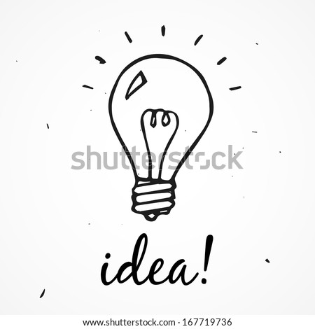 Vector light bulb. Idea! hand drawn - stock vector