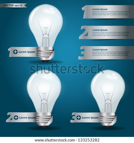Vector light bulb idea, with modern template design / infographics / numbered banners presentation - stock vector