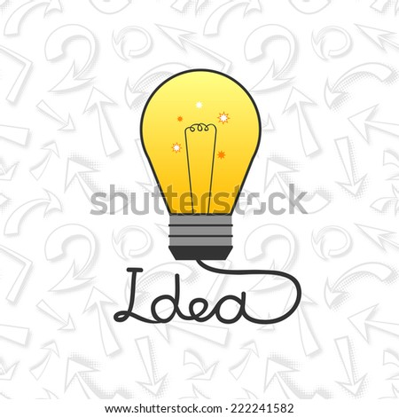 Vector light bulb in flat style element ideas, financial concept illustration on business background with arrows