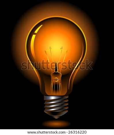 vector light bulb is lighting - stock vector