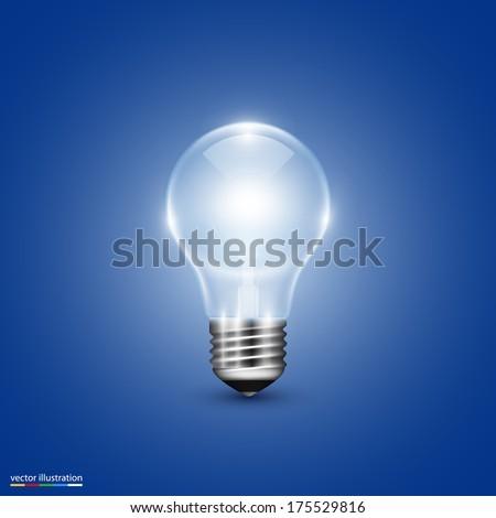 Vector light bulb on background - stock vector