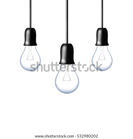 Vector Light bulb on orange yellow background. Realistic style. Business idea concept. One lamp shines. Object for infographics, presentations. Web design, poster, banner print decoration element.