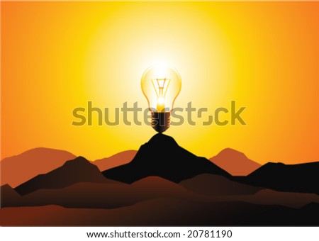 vector light bulb representing the sun over the hills - stock vector