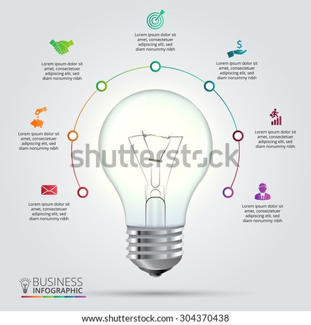 Vector Light Bulb With Circle Elements For Infographic Template Cycling Diagram Graph