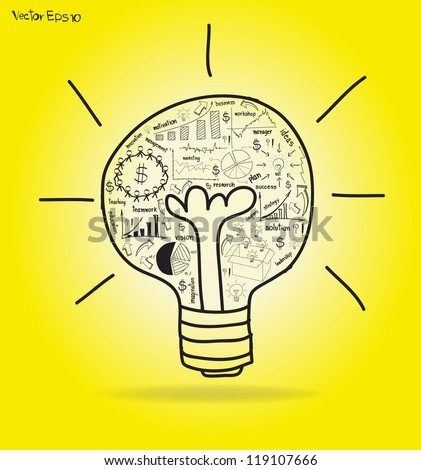 Vector Light bulb with drawing business strategy plan concept idea - stock vector
