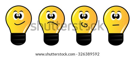 Vector light bulbs or emoticons isolated over white background - stock vector