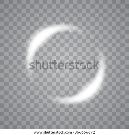 Vector light circles and spark light effect. Sparkling glowing round frame - stock vector