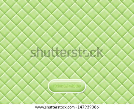 Vector light green vinyl upholstery padded glossy background - stock vector