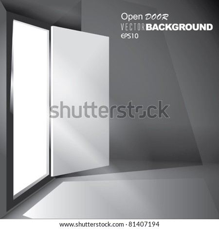 Vector Light through an open Door - stock vector