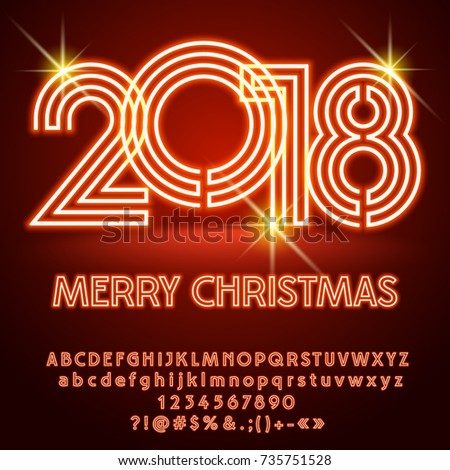 Vector light merry christmas 2018 greeting stock vector royalty vector light up merry christmas 2018 greeting card with alphabet set of letters symbols and m4hsunfo