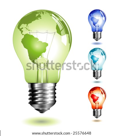 vector-lightbulb with world-map, four different color-versions - stock vector