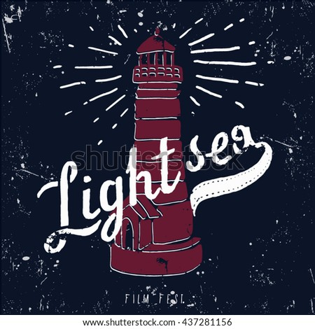 vector Lighthouse with blue sea.Vector grunge background for design of symbol card light sea illustration - stock vector