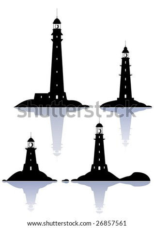Vector Lighthouses - four illustrations isolated on white - stock vector