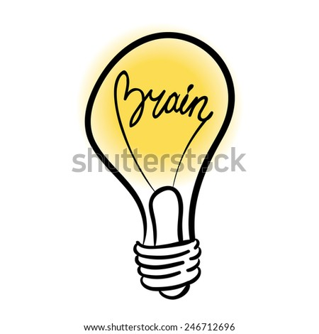 vector lighting bulb with BRAIN lettering - vector idea concept - stock vector