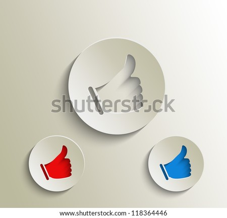 Vector like and share labels design. - stock vector