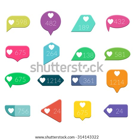 Vector Like Counter Notification Flat design Icons Set on ribbons and labels isolated on white background - stock vector