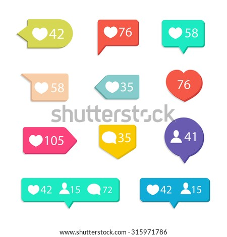 Vector Like Counter Notification Icons Set on ribbons and labels. Vector Illustration - stock vector