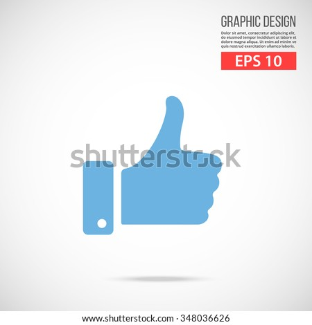 Vector like icon. Blue icon pictogram. Modern flat design vector illustration, quality concept for web banners, web and mobile applications, infographics. Vector icon isolated on gradient background - stock vector