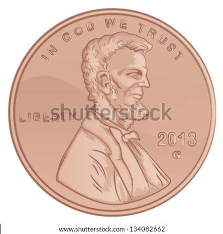 Vector Lincoln Penny/United States Penny Coin - stock vector