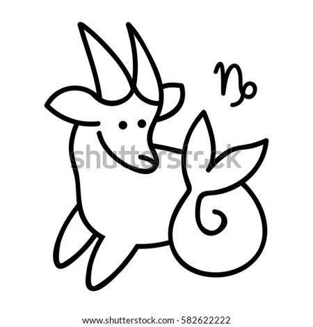 Vector Line Art Capricorn Zodiac Symbol Stock Vector 582622222