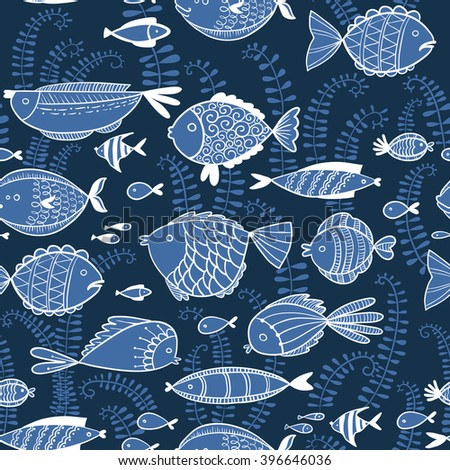 Vector line art doodle illustration. Cute seamless pattern  background with fishes in cartoon style - stock vector