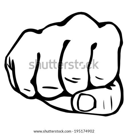 Vector Line Art Fist - stock vector