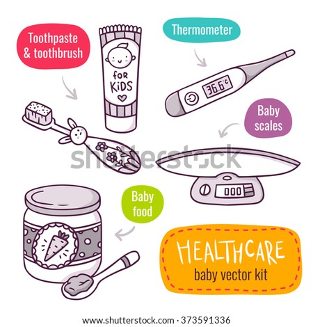 Vector line art icon set with baby products for children healthcare - baby scales, baby food, thermometer, toothpaste and toothbrush for kids - isolated on white - stock vector