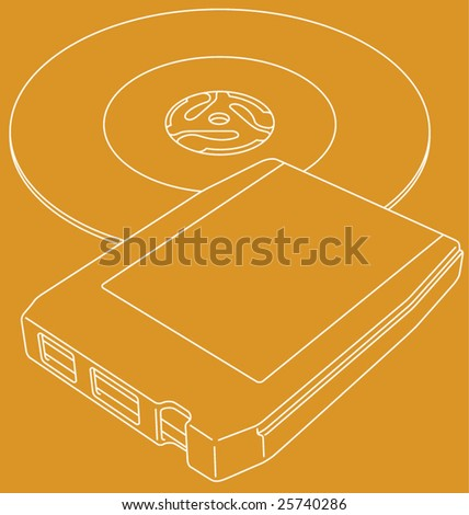 Vector line art illustration of a retro 8-track tape and a 45 RPM single record. - stock vector