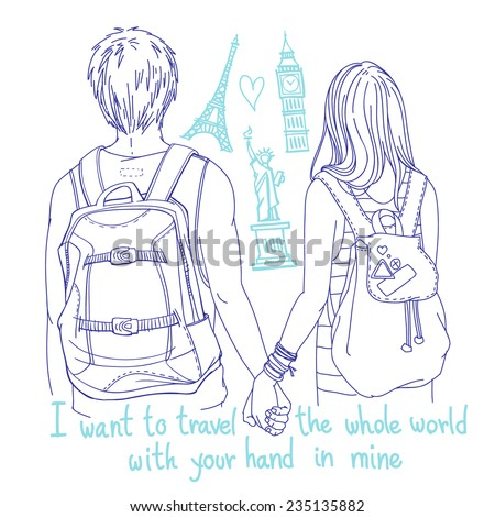 """Vector line art illustration - young couple of backpackers holding hands, back view, with famous landmarks and hand written words """"I want to travel the whole world with your hand in mine"""" - stock vector"""