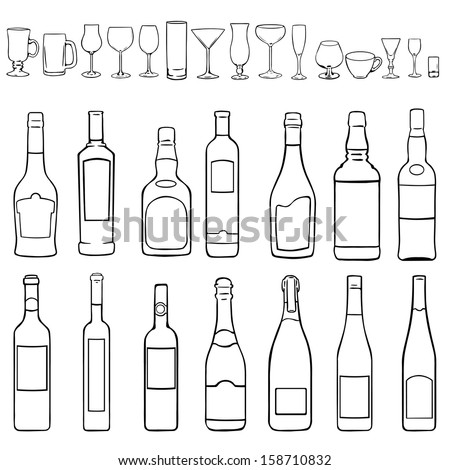 vector line art set - bottles and stemware - stock vector