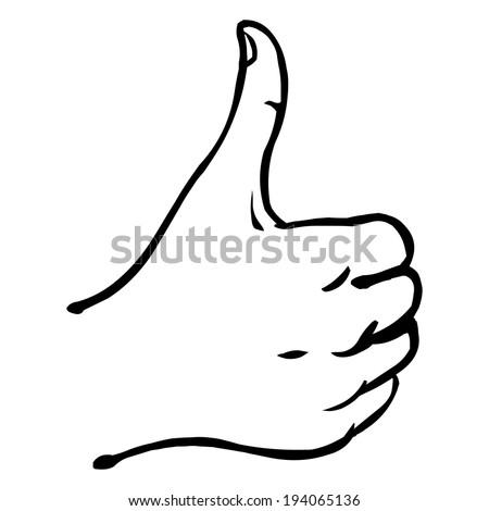 Vector Line Art Thumbs Up - stock vector