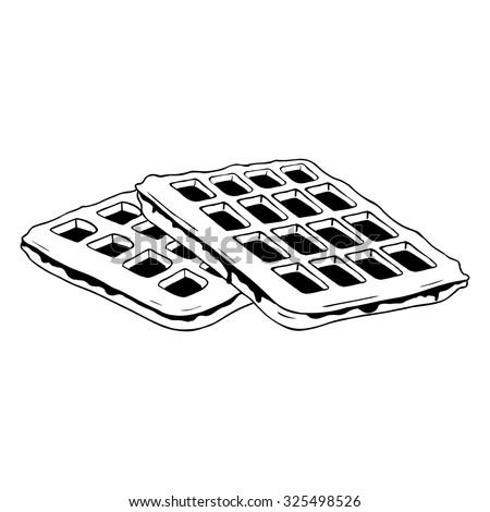 Cartoon Of A Black And White Waffle Ice Cream Cone ...