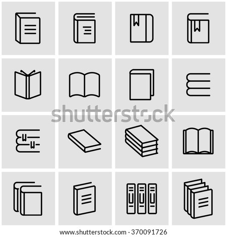 Vector line book icon set. Book Icon Object, Book Icon Picture, Book Icon Image - stock vector - stock vector