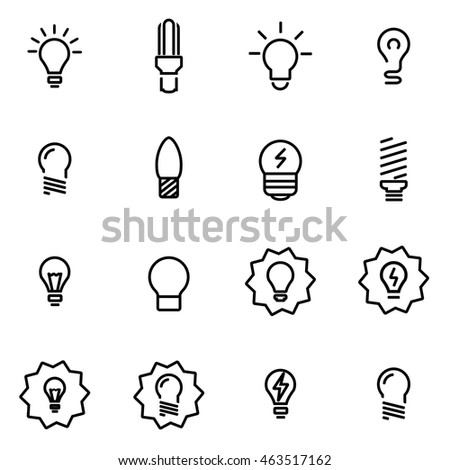 Vector line bulbs icon set on white background