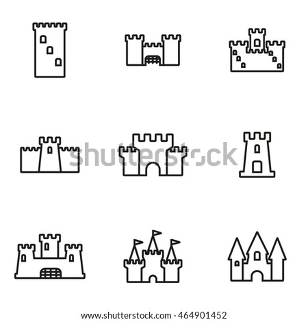 Vector line castle icon set on white background