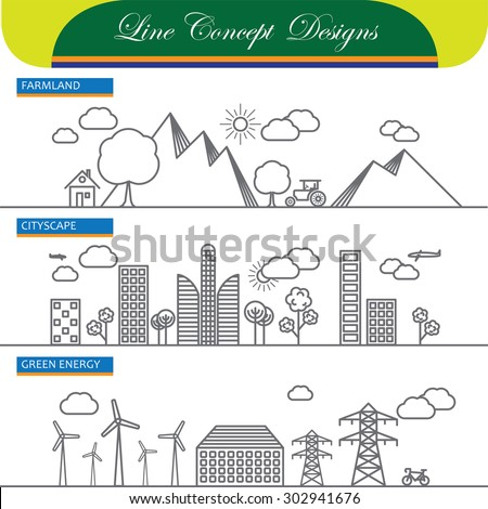 vector line concept icons of farmland cityscape and go green energy. these also represent concepts like country side mountains, hills, farming, urban landscape, commercial office space, power & energy - stock vector